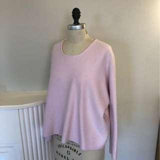 MAJE Pink Boxy Cropped Sweater Crew Neck, Used, Fair Condition