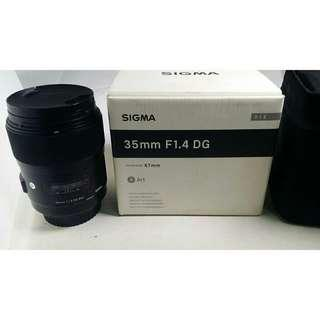 Sigma 35mm F1.4 DG HSM Art for Canon with lens hood