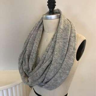 CLUB MONACO Grey Infinity Scarf, Used, Fair Condition