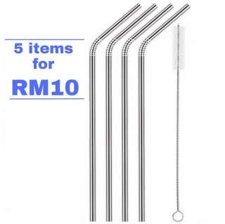 (Discounted) Stainless Steel Metal Drinking Straw Reusable (Ready Stock) #mmar18