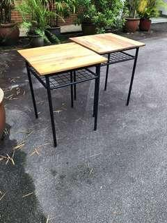 2 school tables with pine wood.
