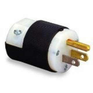 Hubbell HBL5266C Plug, 15 amp, 125V, 5-15P, Black/White