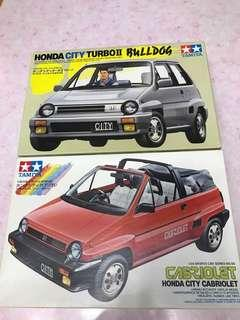 1/24 Honda City 雙星開蓬及硬正各一盒未齊模型已珍藏多年已絕版
