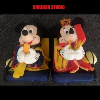 MICKEY & MINNIE Japanese Plush Dolls 6 inch.