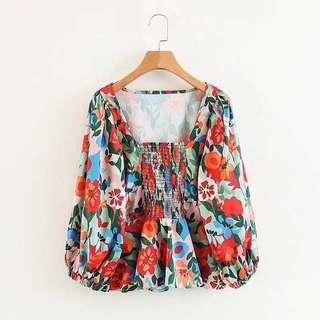 🚚 Zara 同款花卉公主風上衣 #女裝88