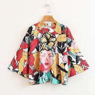 🚚 Zara 同款熱帶風格花卉女孩上衣 #女裝88