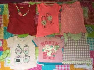 6 girls shirt size 1-2 years old