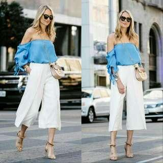 🍃Blue Off Shoulder Top and White Cullotes Ternoset