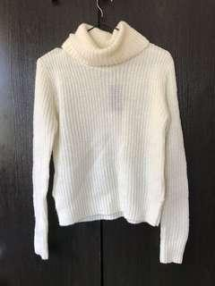 Cream turtleneck knit jumper