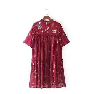 Zara Embroidered Dress with Sequins Size S