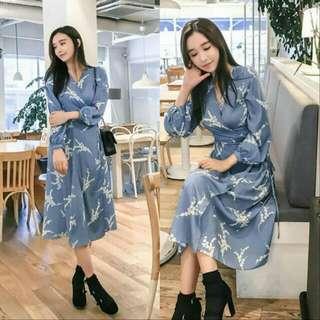 🍃Blue Gray Long Sleeved Long Maxi Floral Dress