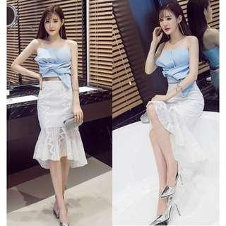 2 piece bowknot top and fishtail dress