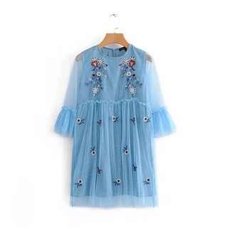 Zara Embroidery Dress in Baby Blue Size L