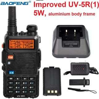 🚚 🔥S$45 🔥 Promotion!!! Improved BaoFeng UV-5R(1) 5W Walkie Talkie Transceiver Dual Band VHF/UHF 136-174Mhz & 400-520Mhz EXPORT only!!! Bulk package (No box, no earpiece) Long range 5W Black UV-5R
