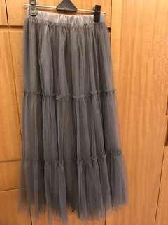 🚚 《全新》多層紗飄逸灰色長紗裙