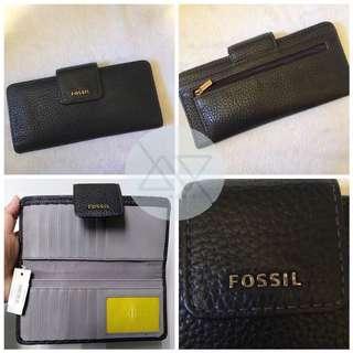 Fossil madison slim clutch black