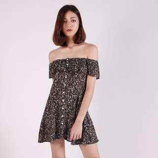 [PO] AVYA PRINTED OFF-S DRESS (BLACK)