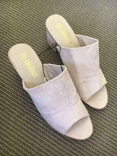 Light pink slip on heeled sandal 9