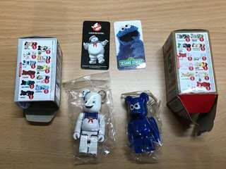Bearbrick Cookie Monster And ghost buster marshmallow man
