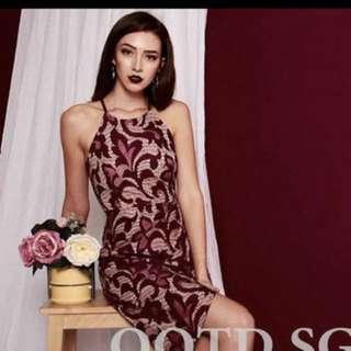 Wine Red Overlap Dress
