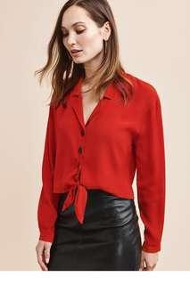 Red tie front top