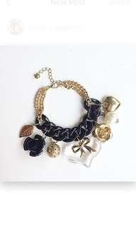 #BUY2GET1FREE Black Gold heart charm bracelet gelang aksesoris wanita murah
