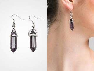 #BUY2GET1FREE Amethyst stone earrings dark purple anting batu aksesoris murah