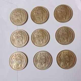 1967(first year) $1first series Lion coin (lot of 9pcs).