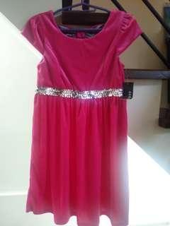 Children dress(new) elegant pink velvet party dress