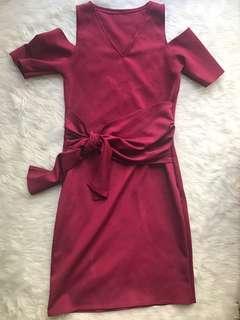 Magenta Cold Shoulder Dress