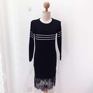 🆕BRAND NEW Long Sleeve Knitted Lace Black Dress