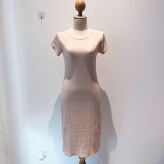 🆕BRAND NEW Ribbed Cotton Bodycon Basic Midi Dress Cream Color Dress