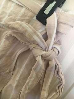 Sand stripe linen wrap skirt 12