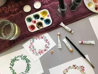 Handmade Watercolor Wreath