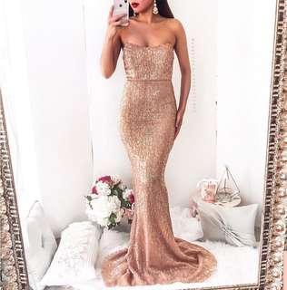 Gold maxi formal dress