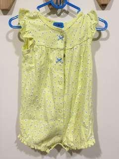 🚚 美國 Carter's 6M 荷葉邊黃色點點包屁衣