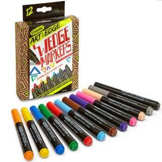 Brand New Crayola Art With Edge Wedge Markers 12 Pcs