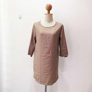 🆕BRAND NEW Casual Loose Half Sleeve Brown Dress Long Top Blouse