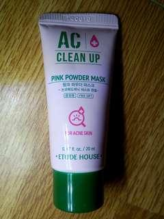 ETUDE AC CLEAN UP PINK POWDER MASK for acne skin