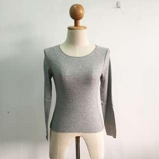 🆕BRAND NEW Ribbed Basic Top Long Sleeve Top Grey Top