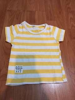 Kaos stripes yellow size 1