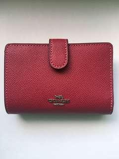 Coach dark pink/ red leather wallet