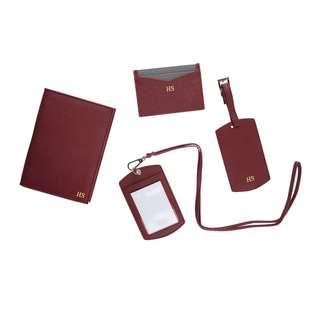 🚚 🎄Personalised Leather Goods with Initials/Names - Burgundy
