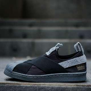 Adidas superstar slip on black grey(BNWB) . Type : Casual . Size : 37-42