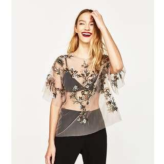 Zara Embroidered Tulle Top BNWOT