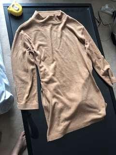 Uniqlo Brown Top With Ribbon sash