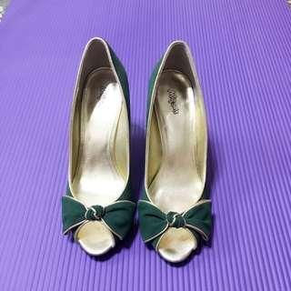 🚚 Miss Sofi 真皮低跟魚口露趾楔型包鞋