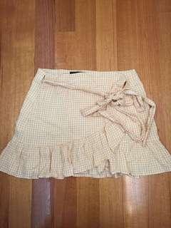 Glassons wrap checkered gingham skirt