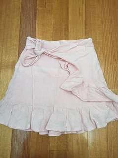 Pink wrap linen skirt