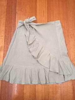 Green wrap linen skirt